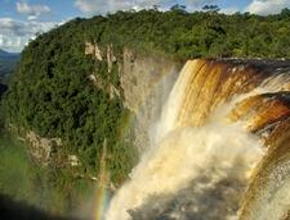 Foto: großer Wasserfall von einem bewaldeten Berg