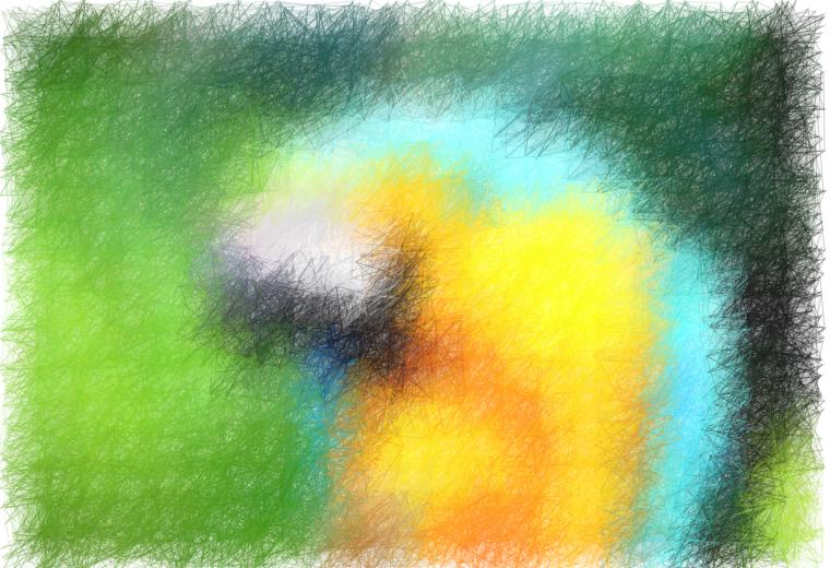 Foto: Abstrakte Darstellung eines Papageien