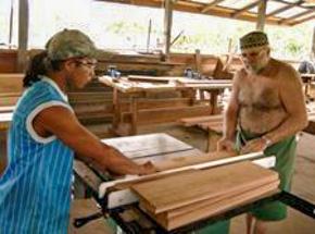 Foto: zwei Männer beim Holzsägen